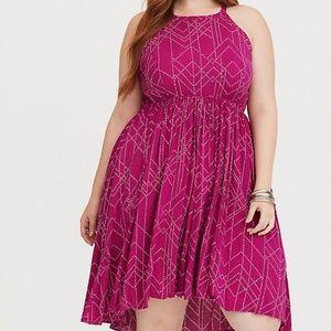 TORRID Berry Dot Hi-Lo Challis Dress